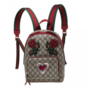 Gucci Beige/Red GG Supreme Canvas Small Embroidered Limited Edition Backpack