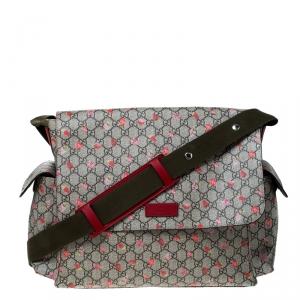 Gucci Beige GG Coated Canvas Strawberry-Print Diaper Messenger Bag