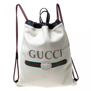 Gucci Cream Drawstring Print Leather Backpack