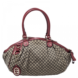 Gucci Beige/Red GG Canvas and Leather Medium Sukey Boston Bag