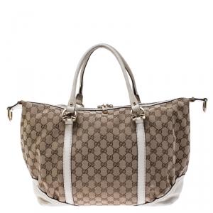 Gucci Beige/Cream GG Canvas and Leather Medium Horsebit Nail Boston Bag