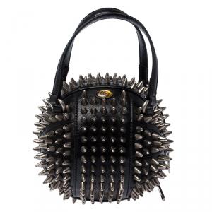 Gucci Black Leather Mini Spike Tifosa Bag