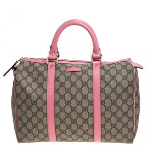 Gucci Beige/Pink GG Supreme Canvas and Leather Medium Joy Boston Bag