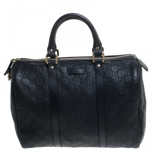 Gucci Navy Blue Guccissima Leather Medium Joy Boston Bag