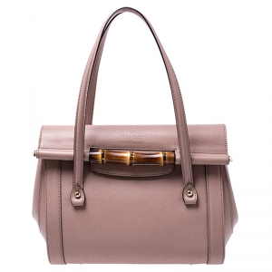 Gucci Old Rose Leather Bamboo Bullet Satchel