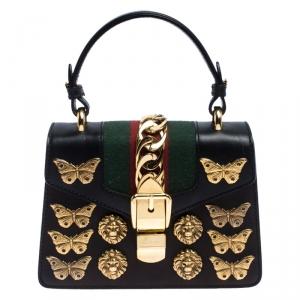 حقيبة غوتشي يد علوية زخرفة ترصيعات حيوان ميني سيلفي جلد سوداء