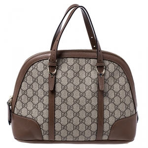 Gucci Beige/Brown GG Supreme Coated Canvas and Leather Nice Dome Satchel