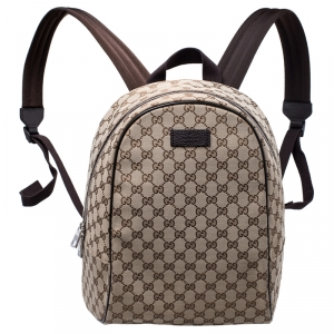 Gucci Beige/Brown GG Canvas and Leather Backpack