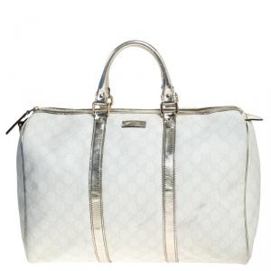 Gucci White/Silver GG Supreme Canvas and Leather Joy Boston Bag