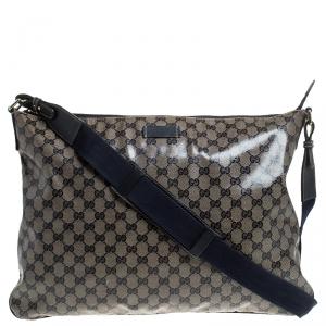 Gucci Blue Monogram Crystal GG Messenger Bag