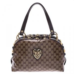 Gucci Brown/Beige GG Crystal Canvas Babouska Heart Dome Satchel