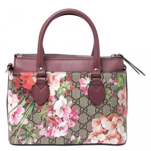 Gucci Multicolor GG Supreme Canvas Blooms Leather Small Satchel
