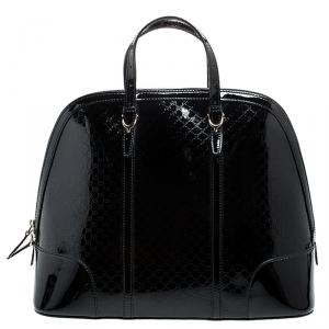 Gucci Black Microguccissima Patent Leather Large Nice Satchel