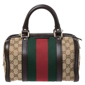 Gucci Dark Brown/Beige GG Canvas and Leather Small Vintage Web Boston Bag