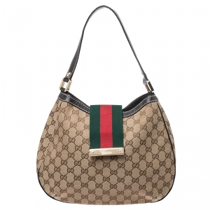 Gucci Beige GG Canvas and Leather New Ladies Web Hobo