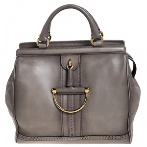 Gucci Taupe Leather Duilio Brogue Satchel