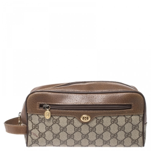 Gucci Brown GG Supreme Coated Canvas and Leather Vintage Cosmetic Pouch