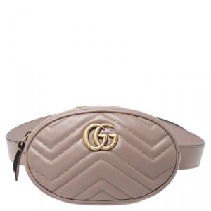 Gucci Old Rose Matelassé Leather GG Marmont Belt Bag