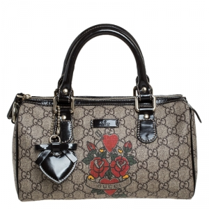 Gucci Dark Brown/Beige Heart Tattoo GG Supreme Canvas and Leather Small Joy Boston Bag