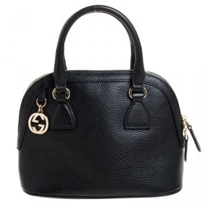 Gucci Black Leather GG Interlocking Charm Satchel