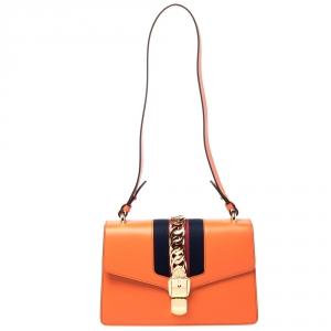 حقيبة كتف غوتشي سيلفي سلسلة متشابكة صغيرة جلد برتقالية