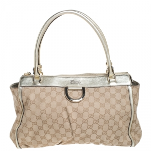 Gucci Gold/Beige GG Canvas Abbey D-Ring Satchel