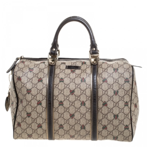 Gucci Brown/Beige GG Supreme Canvas Medium Tattoo Hearts Joy Boston Bag
