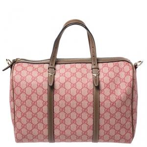 Gucci Pink/Brown GG Supreme Canvas and Leather Medium Joy Boston Bag