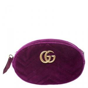 Gucci Fuchsia Matelasse Velvet GG Marmont Belt Bag
