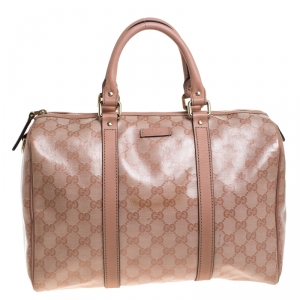 Gucci Pink GG Crystal Canvas Medium Joy Boston Bag