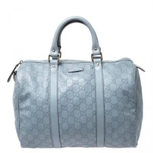 Gucci Sky Blue Guccissima Leather Medium Joy Boston Bag