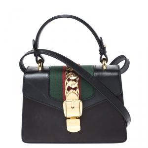 حقيبة غوتشي يد علوية ميني سيلفي جلد سوداء