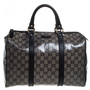 Gucci Grey/Black GG Crystal Canvas Medium Joy Boston Bag