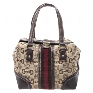Gucci Beige/Brown Horsebit Canvas and Leather Small Treasure Boston Bag