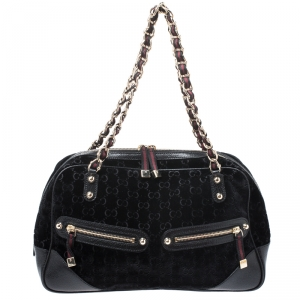 Gucci Black GG Velvet and Leather Web Chain Princy Bowler Bag