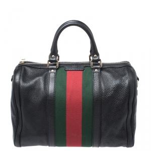 Gucci Black Leather Medium Vintage Web Boston Bag