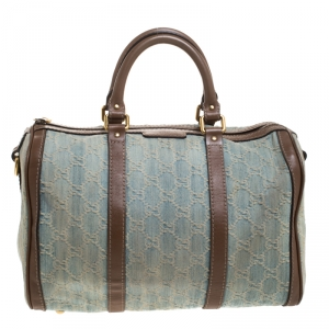 Gucci Blue GG Denim Medium Boston Bag