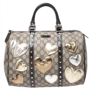 Gucci Beige/Ebony GG Supreme Coated Canvas Medium Hearts Joy Boston Bag