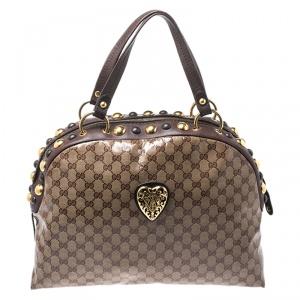 Gucci Beige/Brown GG Crystal Canvas Large Babouska Crest Dome Bag