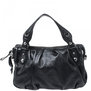 Gucci Black Guccissima Leather Horsebit Satchel