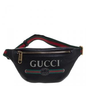 Gucci Black Pebbled Leather Small Logo Web Belt Bag