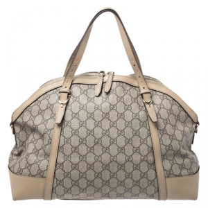Gucci Beige GG Supreme Canvas and Leather Nice Satchel