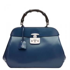 Gucci Blue Leather Large Lady Lock Bamboo Top Handle Satchel
