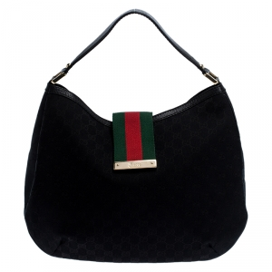 Gucci Black GG Canvas and Leather Large New Ladies Web Hobo