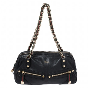 Gucci Black Leather Capri Bowler Bag