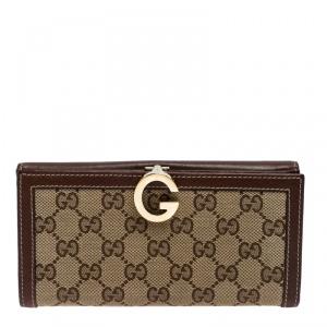 محفظة غوتشي G Continental حافة جلد وكانفاس GG بنية
