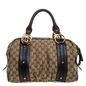 Gucci Beige/Brown GG Canvas and Leather Interlocking Boston Bag