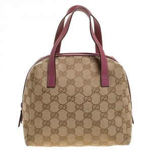 Gucci Beige/Pink GG Canvas and Leather Mini Dome Bag