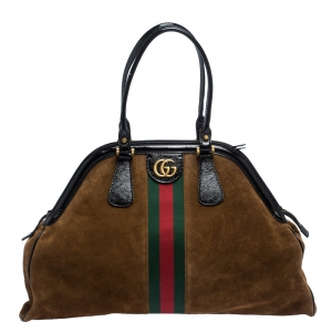 Gucci Brown Suede and Patent Leather Large Web Re(Belle) Bag