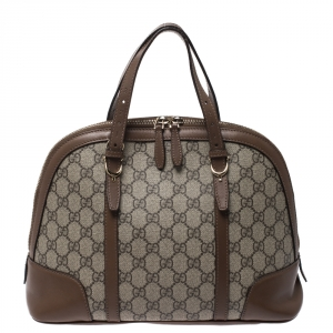 Gucci Beige/Brown GG Supreme Canvas and Leather Nice Dome Satchel